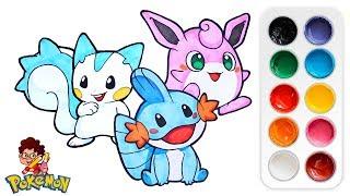 Wigglytuff  - (Pokémon) - Drawing cute Pachirisu, Mudkip & Wigglytuff | Free Pokemon Draw Lesson for Kids
