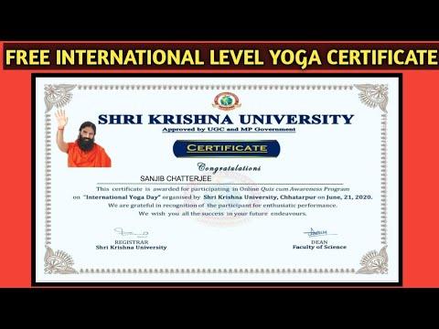 Yoga Certificate | International Yoga Certificate | Free Course