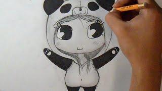 Смотреть онлайн Учимся поэтапно рисовать чиби девушку карандашом