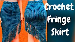 How To Crochet A Fringe Skirt / Crochet Beach Wear /DIY Skirt Tutorial
