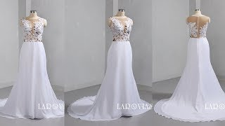 Lace And Chiffon Mermaid Wedding Dress LR093