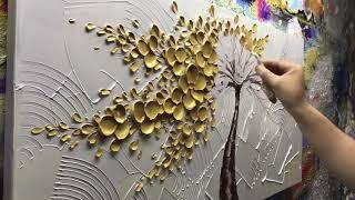Asdam Art Gold Flower Canvas Painting