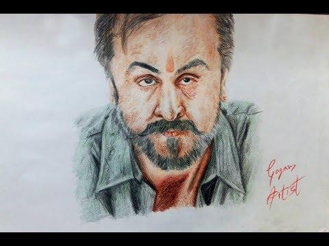 Realistic sketch of RANBIR KAPOOR as SANJU | SANJU |Time