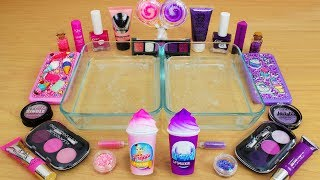 Pink vs Purple - Mixing Makeup Eyeshadow Into Slime! Special Series 83 Satisfying Slime Video