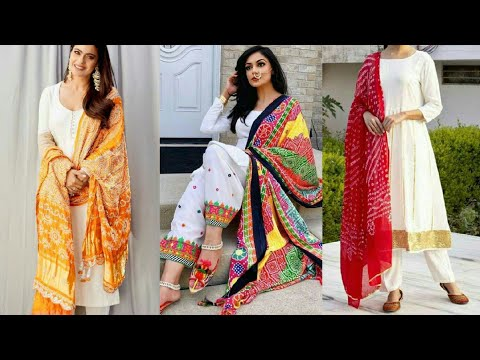 White Suit with Colourful Dupatta - White plain kurta with Contrasting Dupatta Ideas 2020