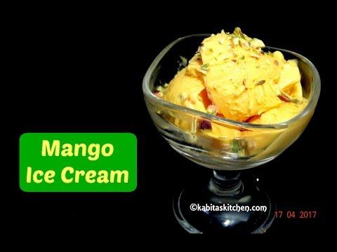 Video Mango Ice Cream Recipe | Easy Ice cream | Homemade Ice cream | Eggless Ice cream | kabitaskitchen