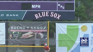Young baseball players work on skills with Valley Blue Sox players coaches