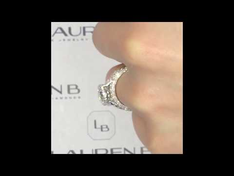 1.50 ct Oval Diamond 3-Row Engagement Ring with Matching 2-Row Wedding Bands