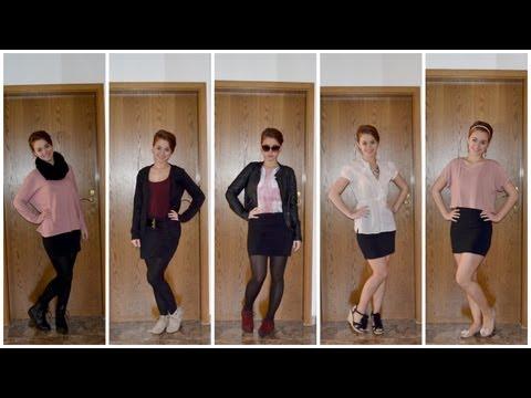 KOMBIWUNDER: 1 schwarzer Rock - 5 Outfits