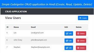 Simple Codeigniter CRUD application in Hindi (Create, Read, Update, Delete)