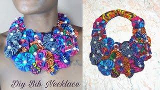 DIy Ankara Flower Bib Necklace