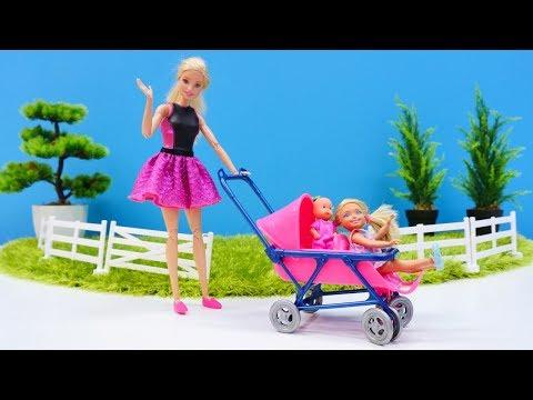 Puppenvideo für Kinder - Barbie geht mit dem Baby auf den Spielplatz