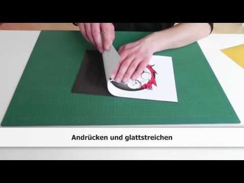 selbstklebende Magnetfolie mit Papier gestalten / bedrucken