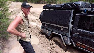 79 Series BOGGED in waist-deep mud hole (QLD, Australia) ► All 4 Adventure TV