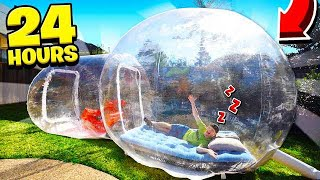 SPENDING 24 HOURS IN A BUBBLE TENT!