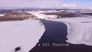 DRONE PHOTOGRAPHY  Ferry Boat Crossing On A Frozen River  DJI Phantom