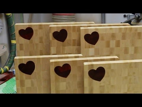 "Making a ""Heart"" inlaid end grain cutting board"