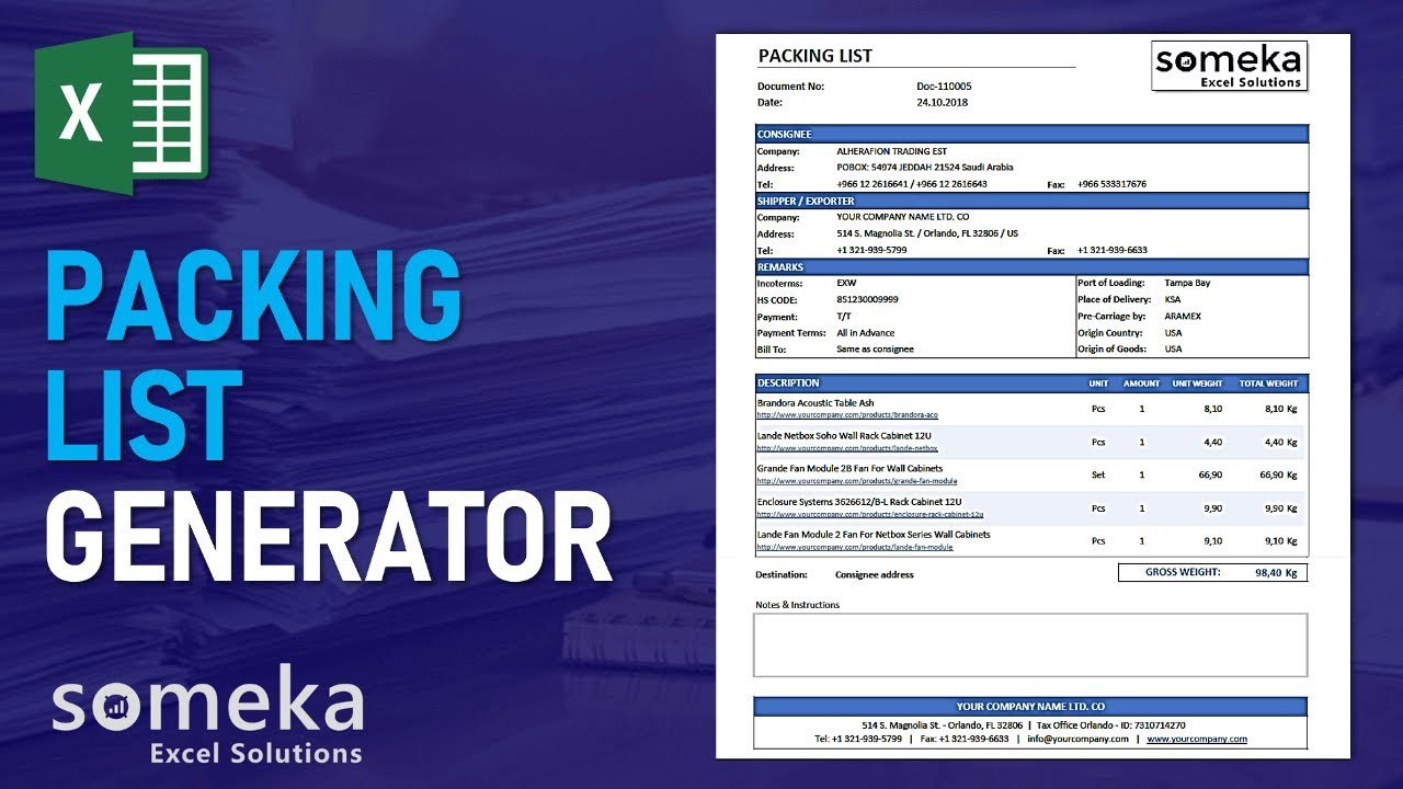 Packing List Generator - Someka Excel Template Video