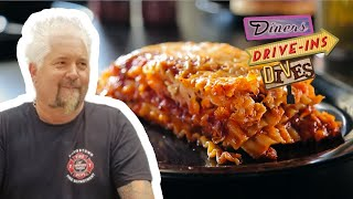 Guy Fieri Eats BARBECUE Lasagna | Diners, Drive-Ins And Dives