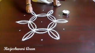 simple easy rangoli designs with dots || chukkala muggulu || simple friday kolam by Rajeshwari Arun