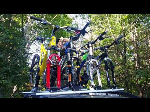 Mounting four mountain bikes on roof rack for cheap
