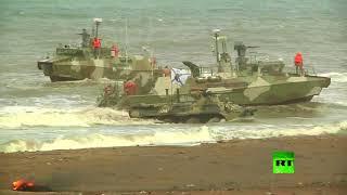 مشاة البحرية الروسية تنفذ مناورات إنزال للأفراد والمعدات على الساحل السوري