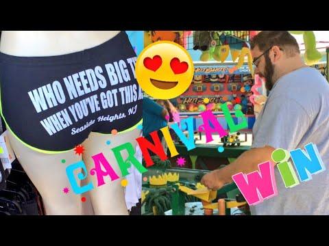 HER NEW SHORTS 😍 EMBARRASSING HUSBAND CHEATS AT CARNIVAL GAMES! AGAIN!