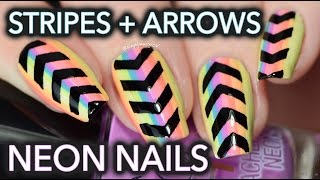 Funky Neon Nail Art With Stripes And Arrows