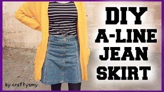 DIY A-Line Jean Skirt Transformation | CraftyAmy