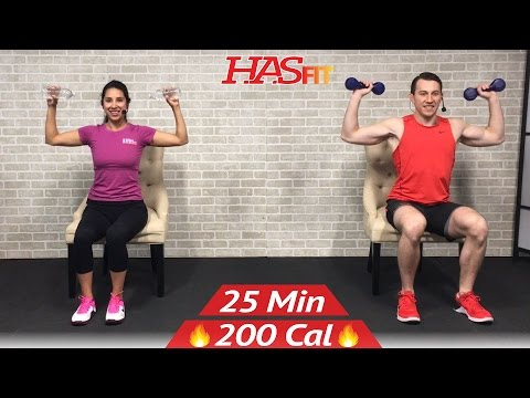 20 min chair exercises sitting down workout - seated