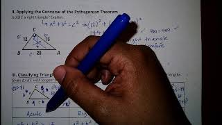 Lesson 7.4: Pythagorean Theorem & Its Converse