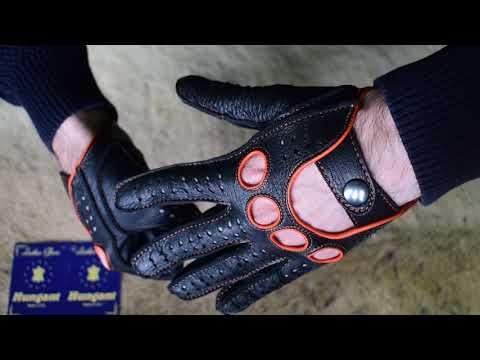 Lederhandschuhe Autohandschuhe aus Hirschleder Schwarz Orange von Hungant