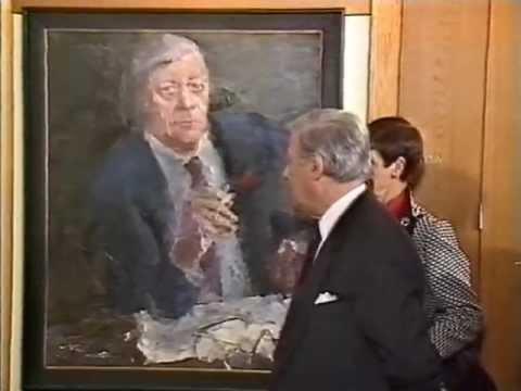 einweihung portr  t helmut schmidt in kanzlergalerie 1986