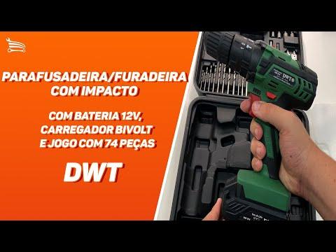 Parafusadeira/Furadeira de Impacto a Bateria 12V Li-Ion 3/8 Pol. com Carregador Maleta e 74 Acessórios - Video