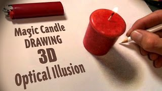 Drawing a Magic Candle 3D Optical Illusion Trick - Timelapse Painting Art