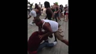 Crazy fight on the boardwalk in Ocean City, MD