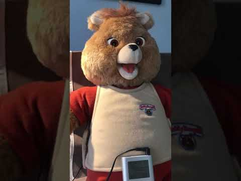 Teddy Ruxpin (Wow, 1985, Metal Player) with iPod and MP3 Adapter