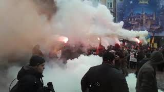 Кадры массового протеста в центре Львова. Видео