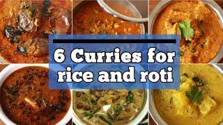 6 Veg Curries For Rice And Roti - Curry Recipe - Cauliflower Curry - Brinjal Curry - Kuzhambu Recipe