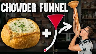 Chugging Clam Chowder Through A Bread Funnel