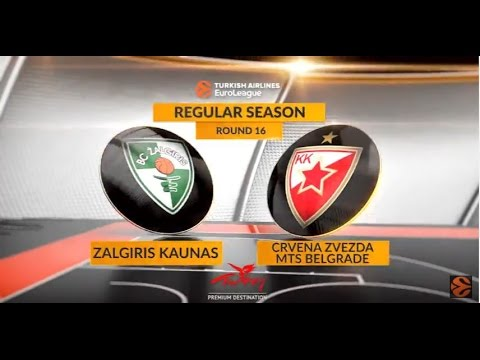 EuroLeague Highlights RS Round 16: Zalgiris Kaunas 61-77 Crvena Zvezda mts Belgrade