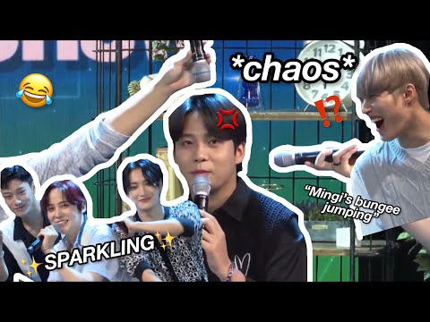 ateez being lowkey chaotic on live talk show