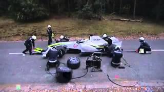 Тренировка пит стопа и медведь  Смешное видео  Формула 1