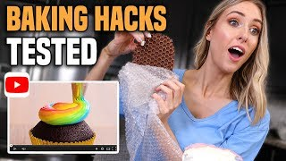 TESTING VIRAL BAKING HACKS for CAKE DECORATING... what ACTUALLY worked??