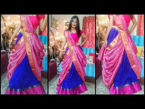How to drape a saree in Lehenga style || silk saree draping  || easy and perfect way