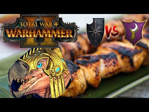 Chaos vs Dark Elves | CHICKEN HALBERD SKEWER - Total War Warhammer 2