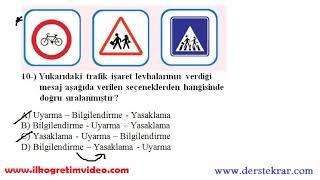 4 Sınıf Trafik Güvenliği Dersi 1 Dönem 1 Yazılı Ve çözümleri