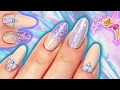 HOLO LILAC FAIRY GLITTER NAILS | IRIDESCENT GLITTER GRADIENT & CRYSTAL