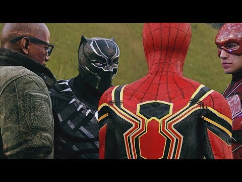 THANOS FIGHTS THE FLASH, BLACK PANTHER, COSMIC SPIDER-MAN, & IRON SPIDER FROM AVENGERS INFINITY WAR
