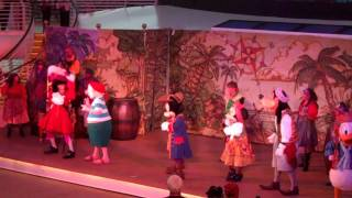 The defeating of Captain Hook on the Disney Dream on Pirate Night